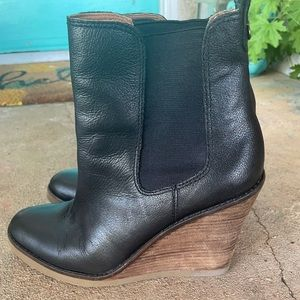 Lucky Brand Black Leather Wedge Booties size 7.5-8